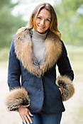 Women's Ciel Shearling Sheepskin Jacket with Fox Fur Trim