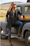 Women's Carmel Shearling Sheepskin Coat with Toscana Trim