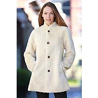 Keeley Reversible Shearling Sheepskin Coat, WHISKEY/WHITE, Size 14
