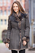 Women's Gala Shearling Sheepskin Coat with Toscana Trim