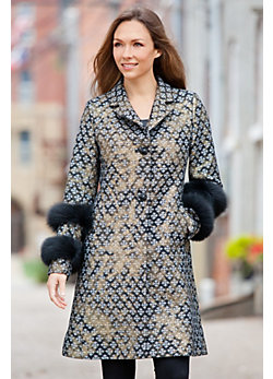 Women's Jemma Wool-Blend Brocade Coat with Fox Fur Cuffs