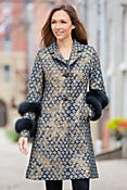 Jemma Wool-Blend Brocade Coat with Fox Fur Cuffs