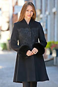 Alexis Embroidered Angora Wool Coat with Fox Fur Trim