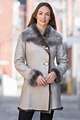 Gala Reversible Shearling Sheepskin Coat with Toscana Trim