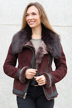 Lavinia Shearling Sheepskin Jacket with Toscana and Leather Trim