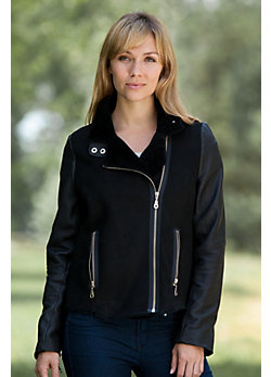 Women's Denise Shearling Sheepskin Motorcycle Jacket with Leather Trim