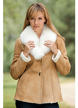 Women's Liza Shearling Sheepskin Coat with Fox Fur Trim