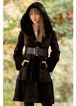 Women's Aurora Sheared Danish Mink Fur Coat