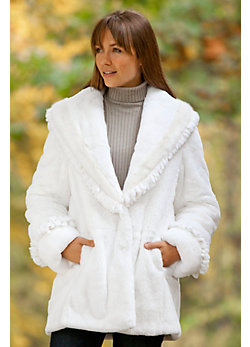 Women's Monique Rabbit Fur Coat with Mink Fur Trim