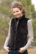 Women's Hope Knitted Beaver Fur and Leather Vest