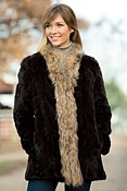 Women's Aviana Reversible Sheared Mink Fur Coat with Raccoon Fur Trim