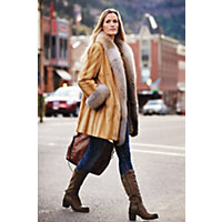 1930s Style Coats Rosanna Danish Mink Fur Coat with Fox Fur Trim BEIGE Size LARGE 14 $4,995.00 AT vintagedancer.com