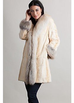 Women's Rosanna Sheared Mink Fur Coat with Fox Fur Trim