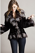 Women's Marisol Sheared Mink Fur Jacket with Fox Fur Trim