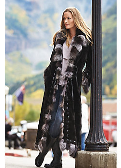 Women's Maertisa Sheared Mink Fur Coat with Fox Fur Trim