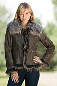 Women's Natasha Double-Faced Rabbit Fur Jacket with Raccoon Fur Trim