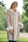 Women's Danielle Rabbit Fur Coat with Fox Fur Trim