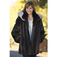 Women's Marisa Longhaired Beaver Fur Coat With Fox Fur Trim, Hazel / Crystal, Size Xsmall Western & Country
