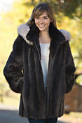 Women's Marisa Long-Haired Beaver Fur Coat with Fox Fur Trim