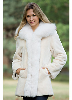 Women's Adrianna Sheared Beaver Fur Coat with Fox Fur Trim