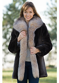 Women's Juliette Sheared Beaver Fur Coat with Fox Fur Trim