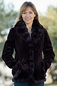 Women's Carolina Sheared Mink Fur Jacket with Chinchilla Fur Trim