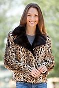 Women's Kono Asian Lynx Fur Jacket with Mink Collar