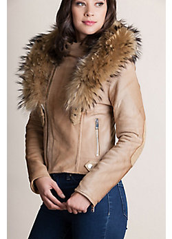 Andromeda Calfskin Leather Jacket with Detachable Raccoon Fur Collar