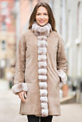 Camilla Reversible Mink Fur Coat with Chinchilla Fur Trim