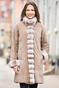 Camilla Reversible Mink Fur Coat with Chinchilla Fur Trim