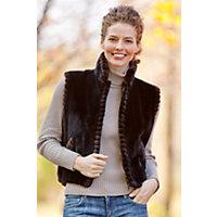 Women's Leah Sheared Beaver Fur Vest, Onyx / Matara, Size 14 Western & Country
