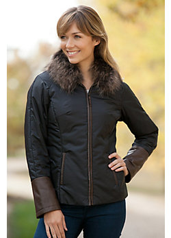 Women's Lucille Windbreaker with Raccoon Fur Trim