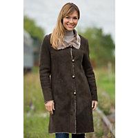 Women's Katrine Shearling Sheepskin Coat, Teak, Size Large (12) Western & Country