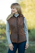 Women's Brynn Hooded Shearling Sheepskin Button Vest