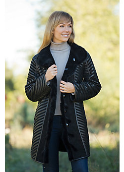 Women's Teresa Reversible Shearling Sheepskin Coat with Mink Fur Trim
