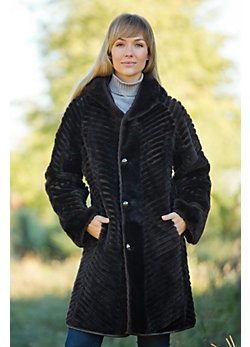 Women's Geraldine Reversible Shearling Sheepskin Coat with Leather Trim