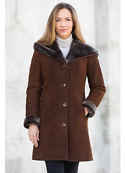Delia Hooded Shearling Sheepskin Coat