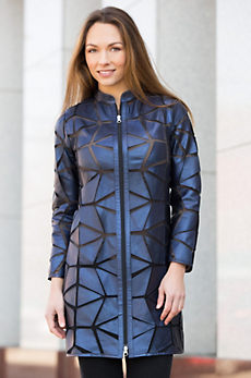 Mikayla Geometric Lambskin Leather Jacket