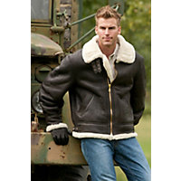 Men's Classic Sheepskin B-3 Bomber Jacket, Brown / Cream, Size Large (44-46) Western & Country