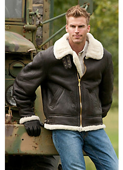 Men's Classic Sheepskin B-3 Bomber Jacket (Big)