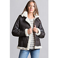 Women's Jane Sheepskin B-3 Bomber Jacket, Brown / Cream, Size Small (6) Western & Country