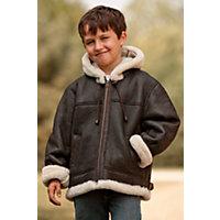 Children'S Winston Sheepskin B-3 Bomber Jacket With Hood, Brown / Cream, Size 6 Western & Country
