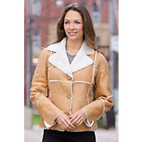 Women's Krystal Shearling Sheepskin Jacket, Camel Distressed, Size Large (10-12) Western & Country
