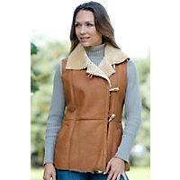 Women's Reyna Shearling Sheepskin Vest, Camel, Size Large (10) Western & Country