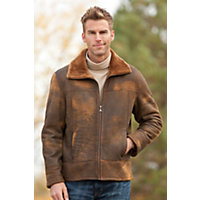 Men's Arvada Distressed Shearling Sheepskin Jacket, Brown Distressed, Size Xlarge (46) Western & Country