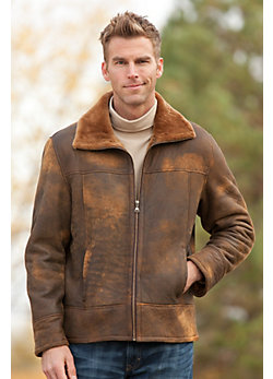 Men's Arvada Distressed Shearling Sheepskin Jacket