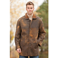 Men's Apache Distressed Shearling Sheepskin Jacket, Brown Distressed, Size Small (40) Western & Country