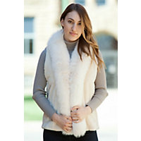 Women's Camille Sheared Beaver Fur Vest With Fox Fur Trim, Marfil, Size Medium (8-10) Western & Country