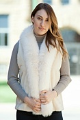 Women's Camille Sheared Beaver Fur Vest with Fox Fur Trim