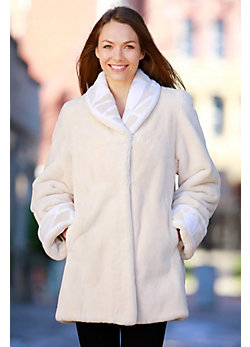 Women's Rayna Sheared Beaver Fur Coat with Stained Glass Trim